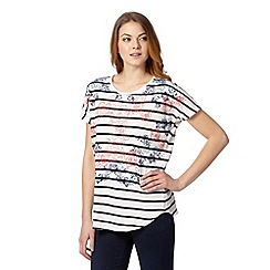The Collection - White ikat poppy print striped t-shirt