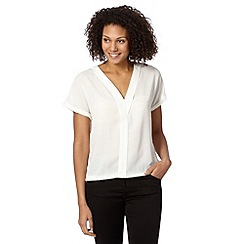 The Collection - Ivory Y front crepe top