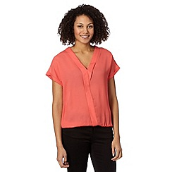 The Collection - Coral Y front crepe top