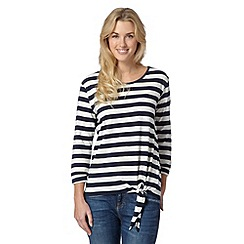 The Collection - Navy striped tie hem top