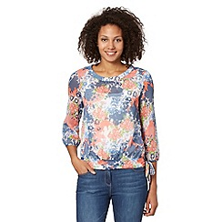 The Collection - Blue floral geisha print insert top