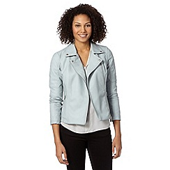 The Collection - Pale blue quilted sleeve PU biker jacket