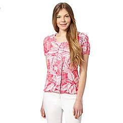 The Collection - Bright pink pleat leaf print top