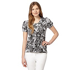 The Collection - Black pleat leaf print top