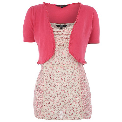 The Collection - Pink shrug and floral top set