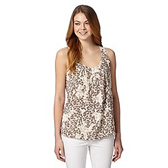 The Collection - Natural leopard print pintucked vest