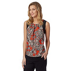 The Collection - Orange Mozambique printed shell top