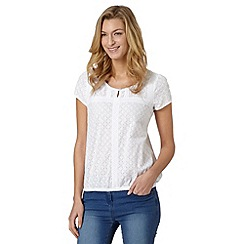 The Collection - White textured broderie top