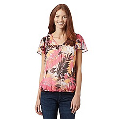 The Collection - Bright pink embellished leaves bubble hem top