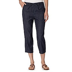 The Collection - Navy cropped chambray trousers