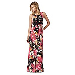 The Collection - Black and pink leaf print maxi dress