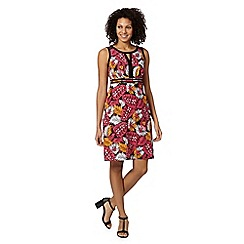 The Collection - Bright pink leaf print dress