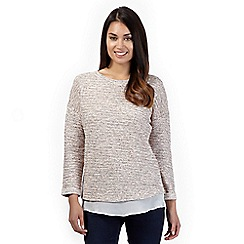 The Collection - Dark peach twisted yarn woven hem jumper