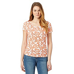 The Collection - Orange floral print scoop neck t-shirt