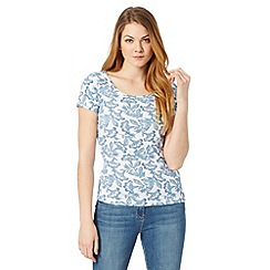 The Collection - Blue floral print scoop neck t-shirt