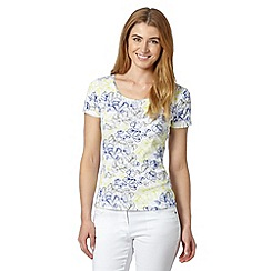 The Collection - White floral print scoop neck t-shirt