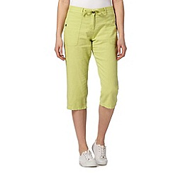 The Collection - Green linen crop trousers