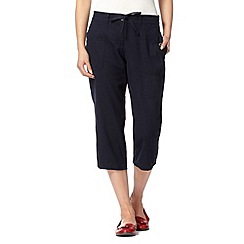 The Collection - Navy cropped linen blend trousers