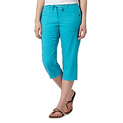 The Collection - Bright blue cropped linen blend trousers