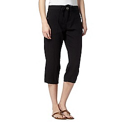 The Collection - Black cropped linen blend trousers