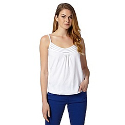 The Collection - White pleat trim cami