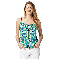 The Collection - Lime hawaiian leaf print pleated cami