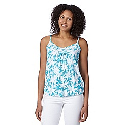 The Collection - Turquoise poolside palm print vest top