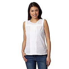 The Collection - White pleated broderie vest