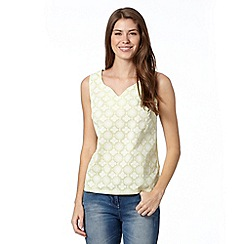 The Collection - Lime puff print notch neck top