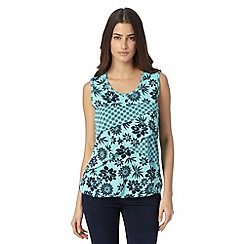 The Collection - Turquoise layered floral bubble hem vest
