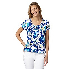 The Collection - Turquoise floral pleat bubble top