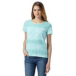 The Collection - Light turquoise lace insert floral t-shirt