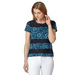 The Collection - Navy floral print embroidered t-shirt