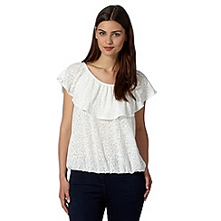 The Collection - White scroll print layered top