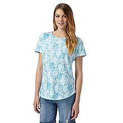 The Collection - Turquoise floral leaf print t-shirt