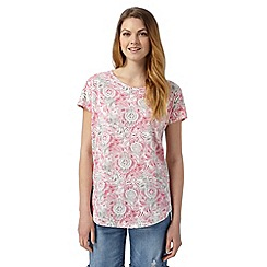 The Collection - Bright pink floral leaf print t-shirt