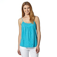 The Collection - Turquoise crochet lace trim cami top