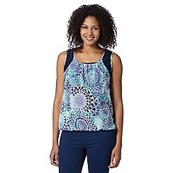 The Collection - Turquoise lace shoulder geometric top