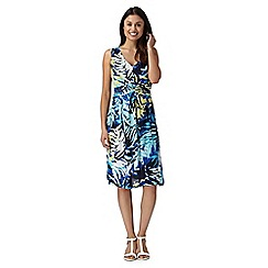 The Collection - Dark turquoise leaf midi dress