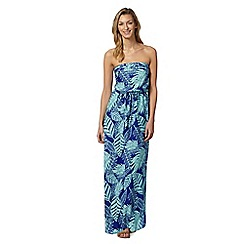 The Collection - Dark blue pleat bodice leaf maxi dress
