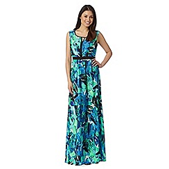 The Collection - Green painted palm leaf print maxi dress