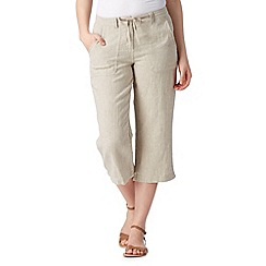 The Collection - Natural herringbone cropped trousers