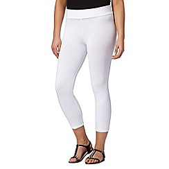 The Collection - White cotton blend cropped leggings