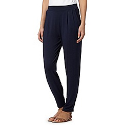 The Collection - Navy pleated jersey trousers