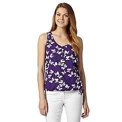 The Collection - Purple tropical butterfly vest top
