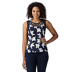 The Collection - Navy floral lattice lily top