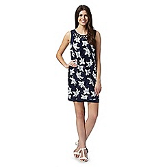 The Collection - Navy lily print shift dress
