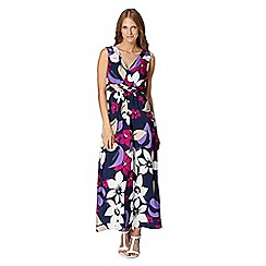 The Collection - Navy large floral print woven maxi dress