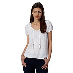 The Collection - White textured striped top