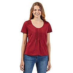 The Collection - Dark red pleat trim bubble top